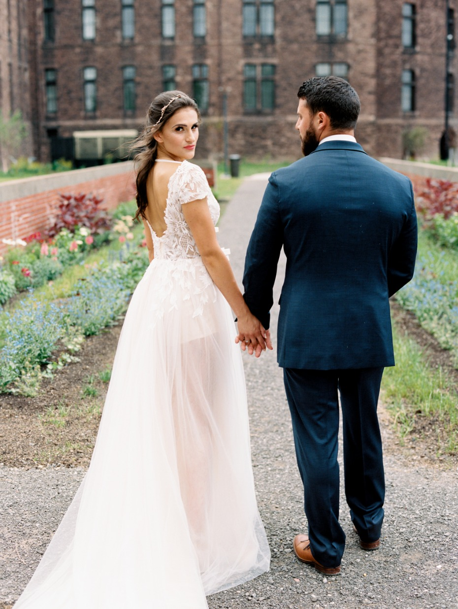 chic fall wedding couple bride in L'Amour wedding dress