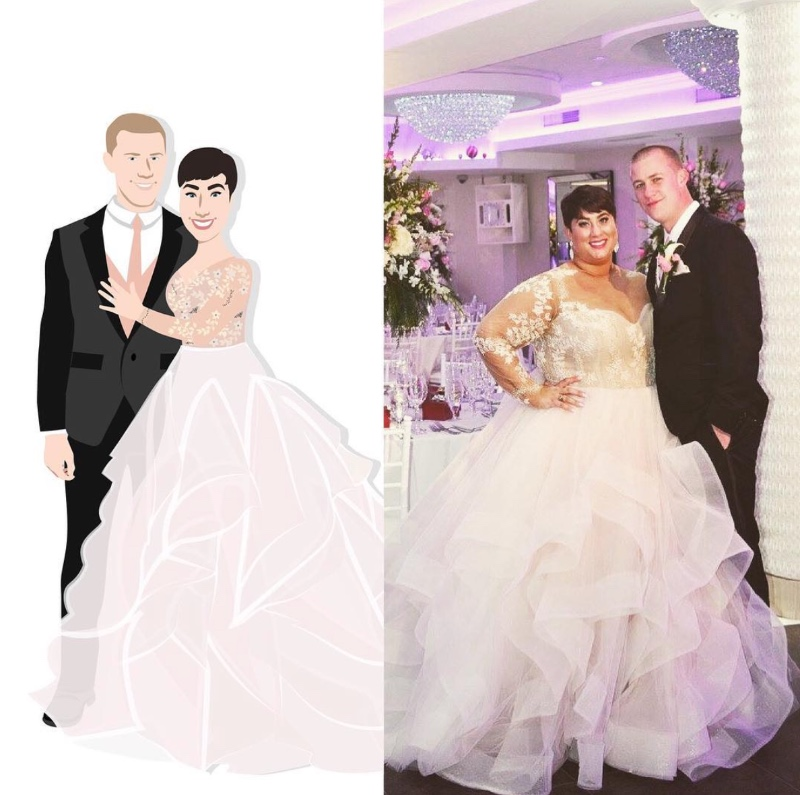 Another side by side comparison, on the left is our design and on the right is the stunning couple! Our clients never fail to blow