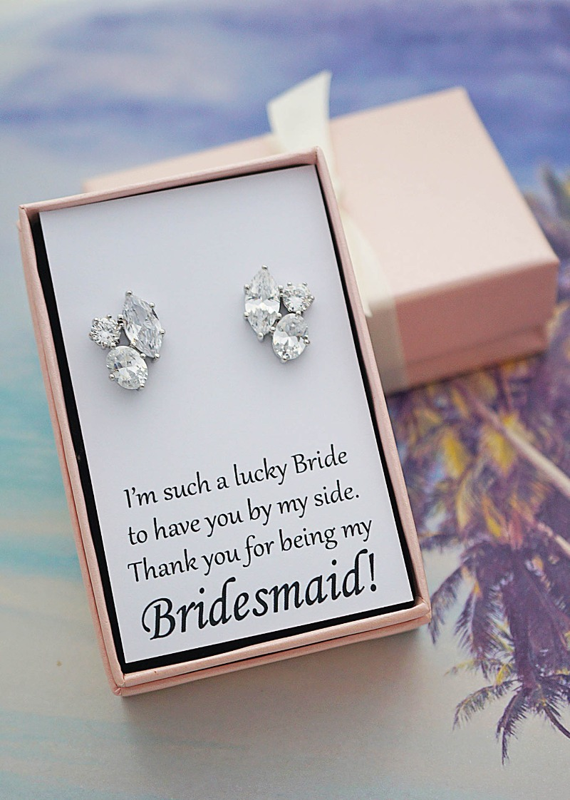 Elegant Cubic Zirconia Trio Ear studs for Bridesmaids with a personalized message card.