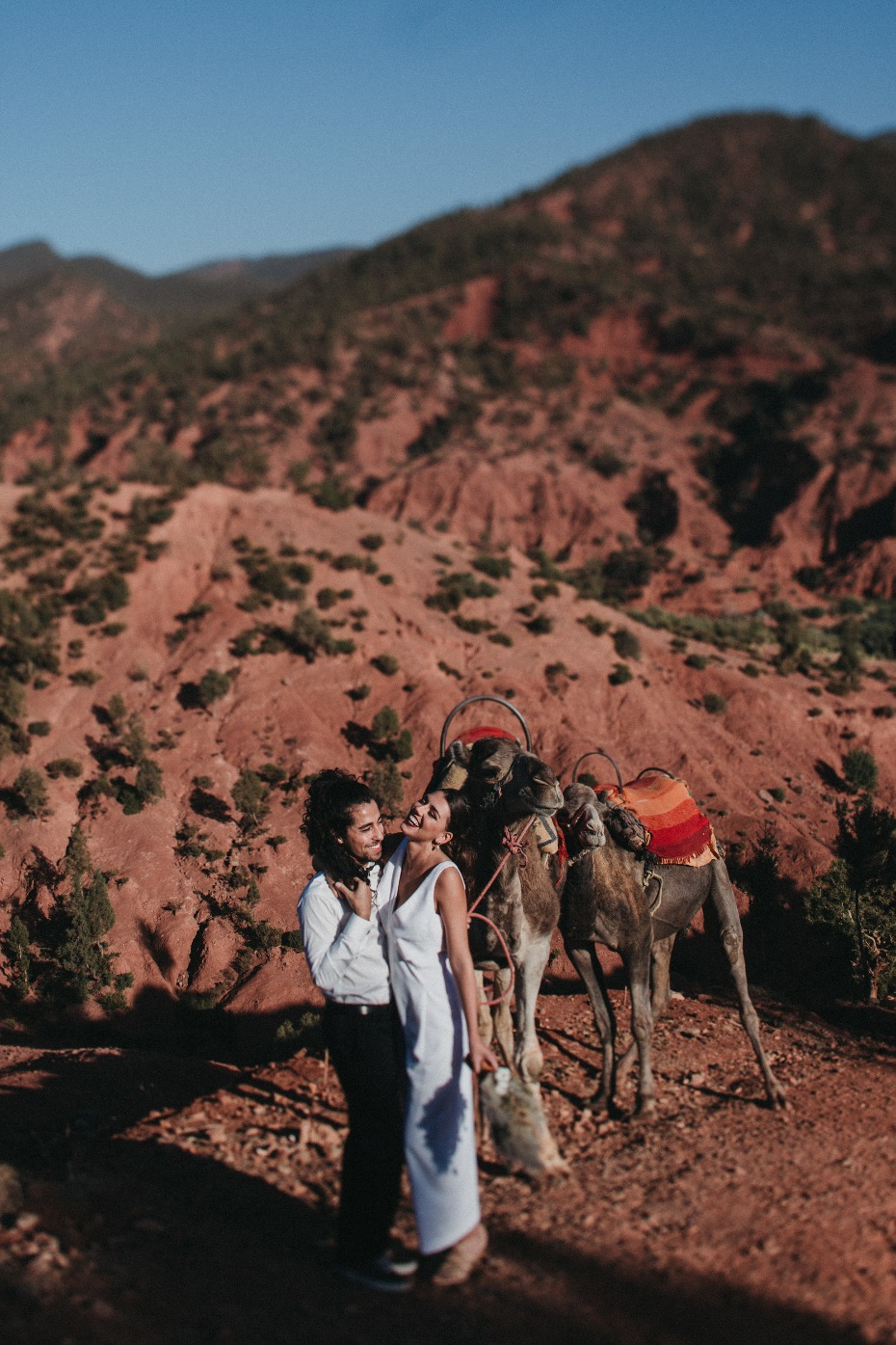 bride and groom ride a camel at their Moroccan wedding