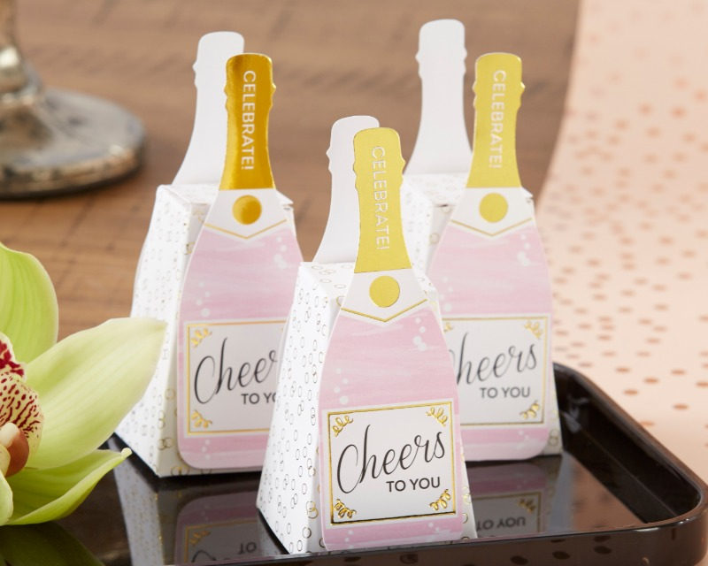 Kate Aspen's Pink Champagne Favor Boxes are perfect for weddings, showers, and bachelorette parties of all sizes! The favor boxes