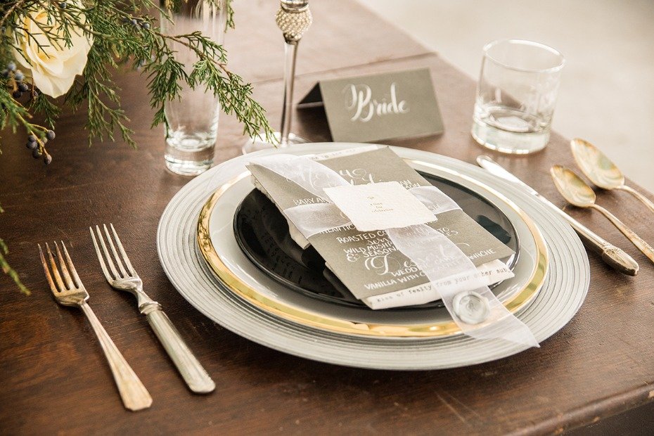 elegant white grey and gold wedding place setting