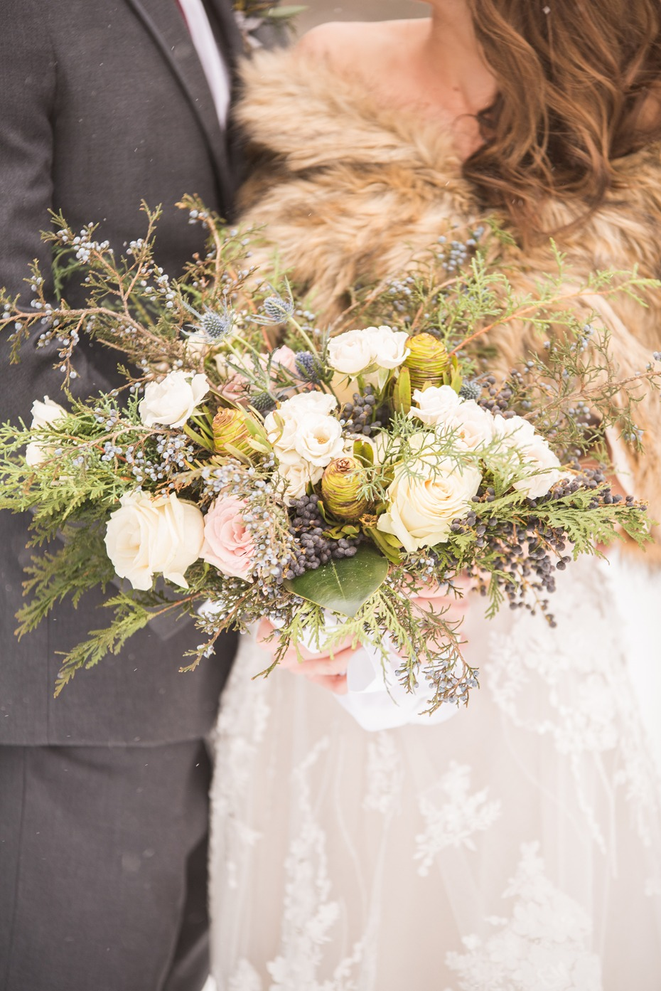 winter wedding bouquet with unique flower choices