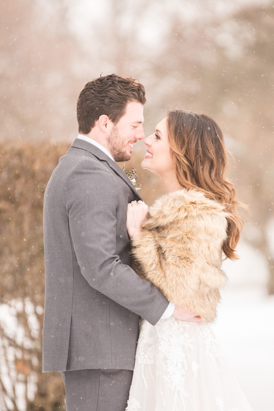 saying i do in a magical snow fall