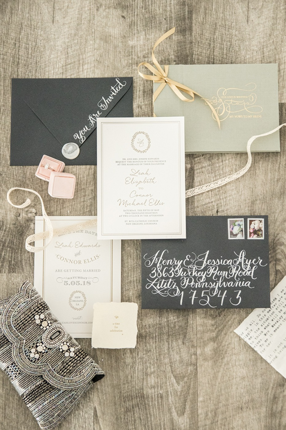 classic wedding invitation style with a modern flair