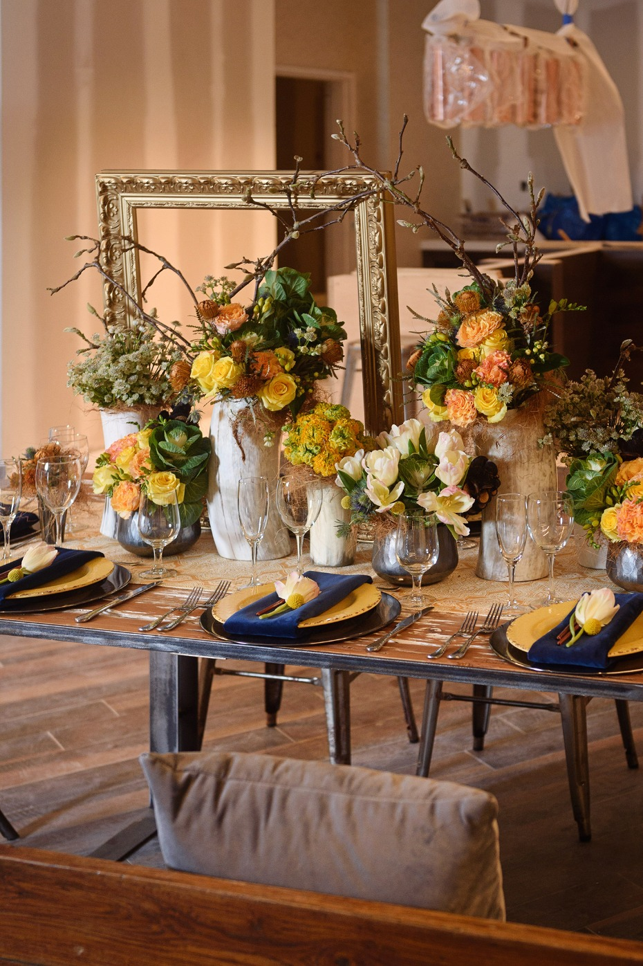 Blue and yellow table with loads of texture