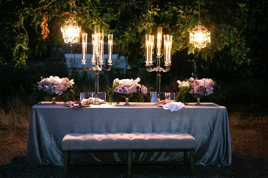 wedding table with glamorous style at night