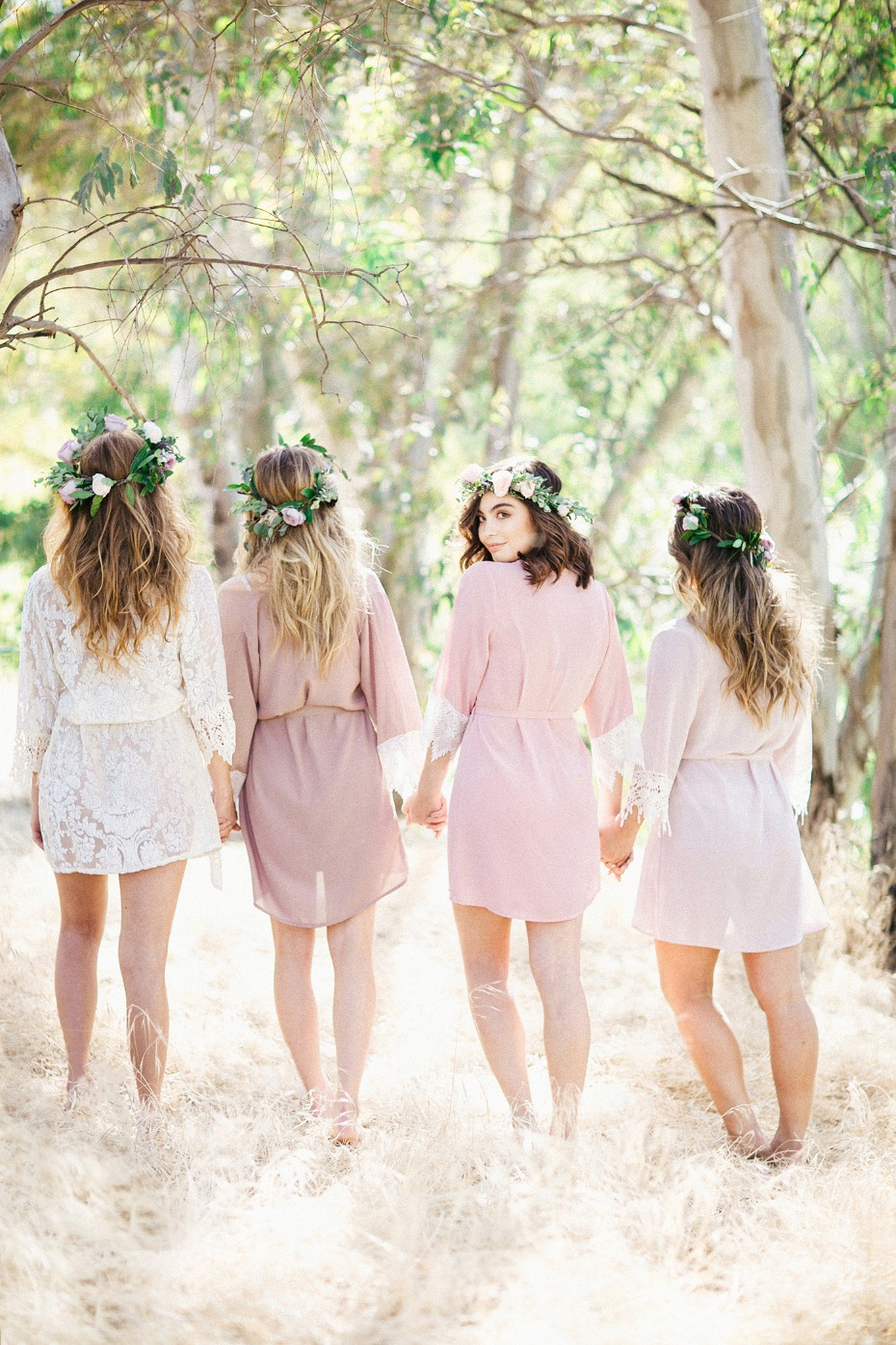 mix and match pink bridesmaid robes