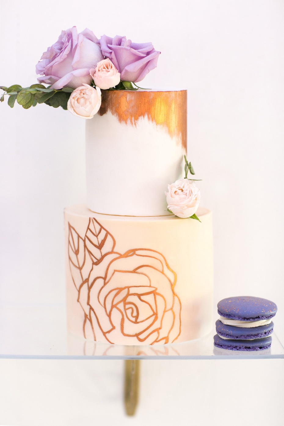 rose painted wedding cake