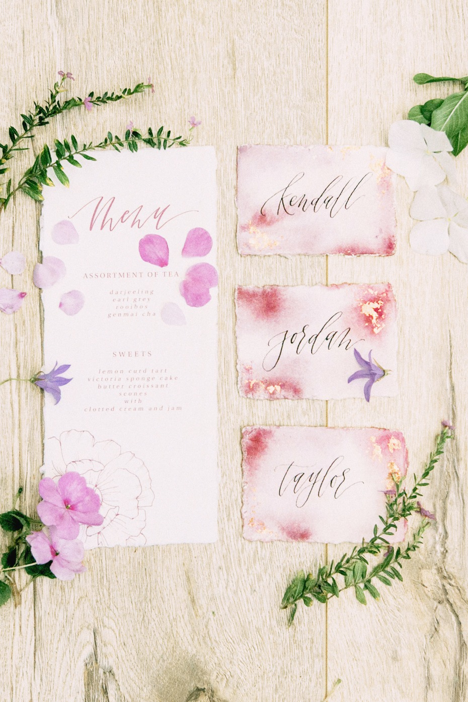 watercolor wedding menu and place cards
