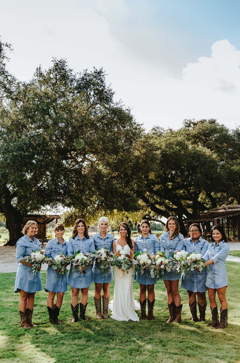 Cowgirl bridesmaid dresses in denim