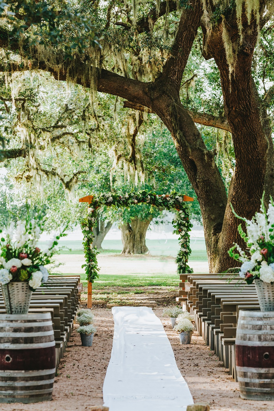 Ceremony under old oak trees