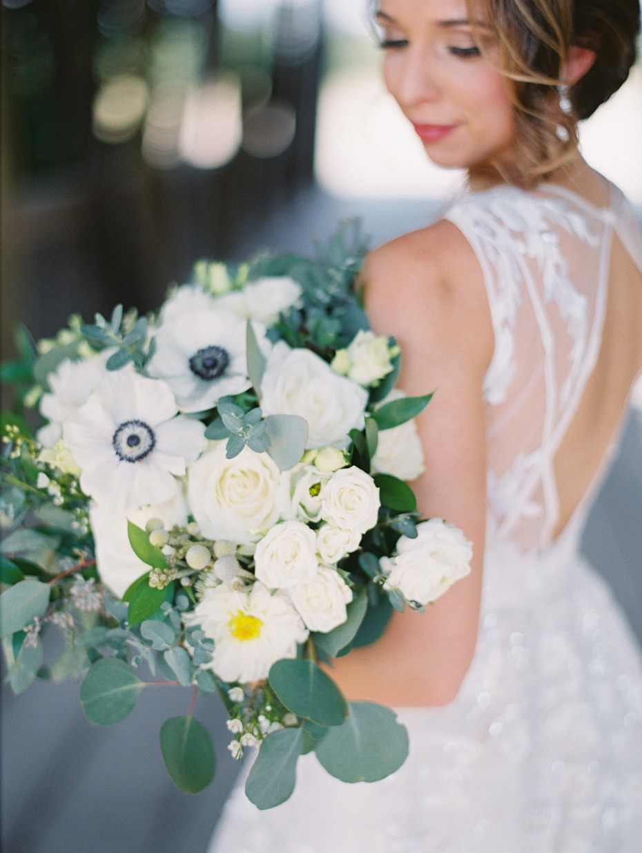 anemone and ivory wedding bouquet