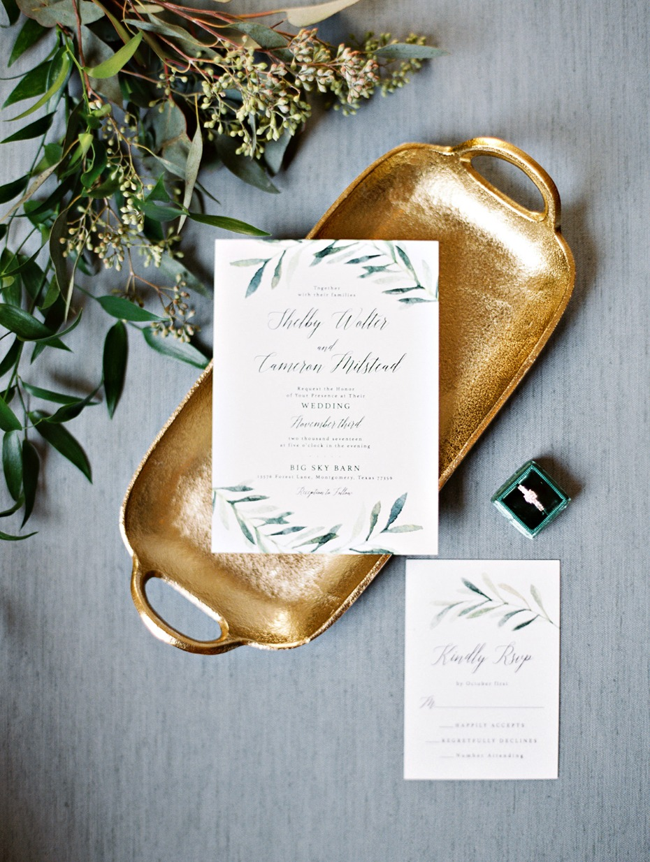 classic eucalyptus themed wedding stationery