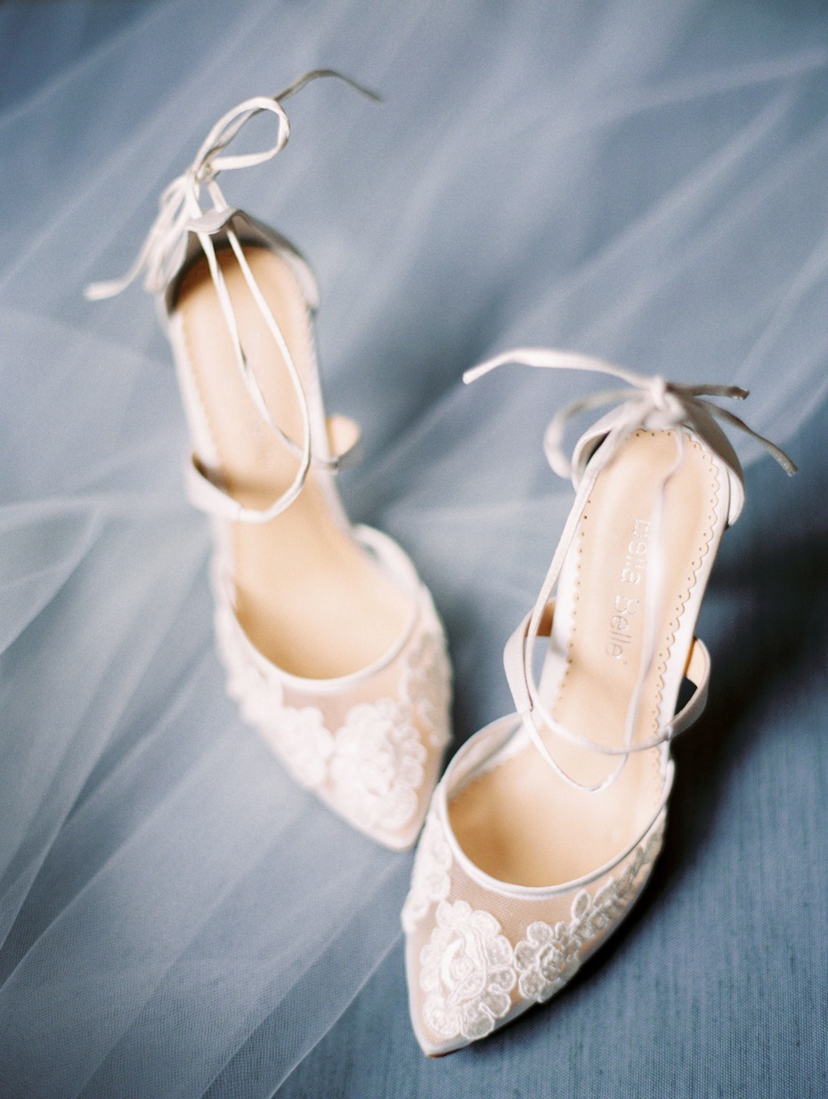 lacy and strappy wedding shoes