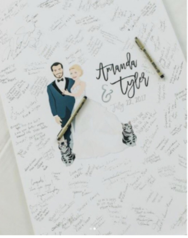 The guest book alternative that our clients can't stop raving about! Shop our custom portrait illustration guest book canvas now!