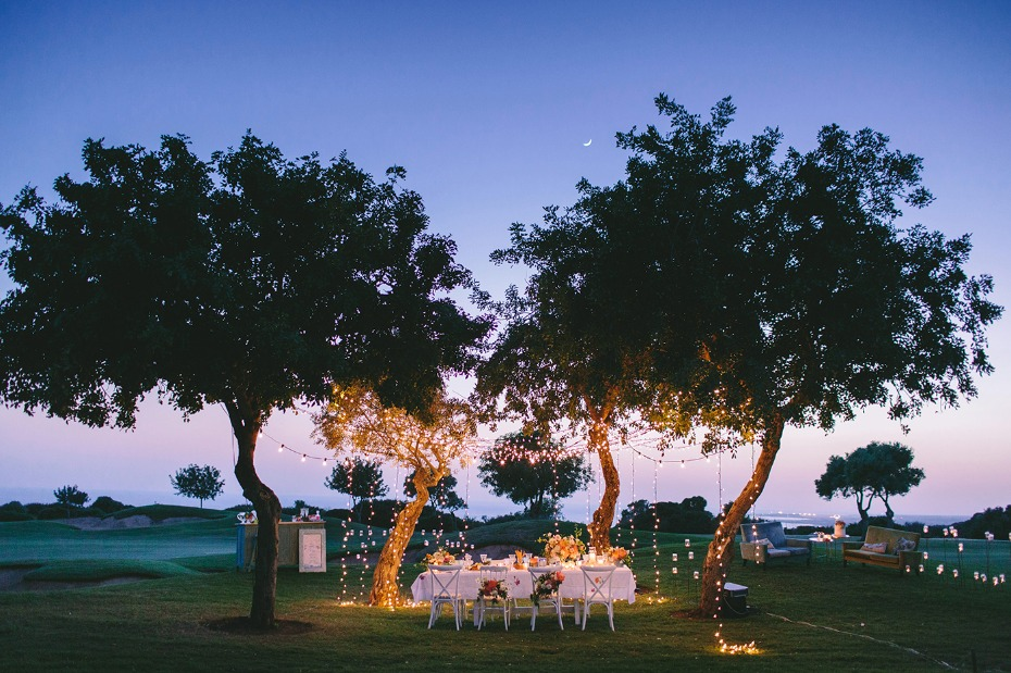 Whimsical summer wedding with twinkle lights