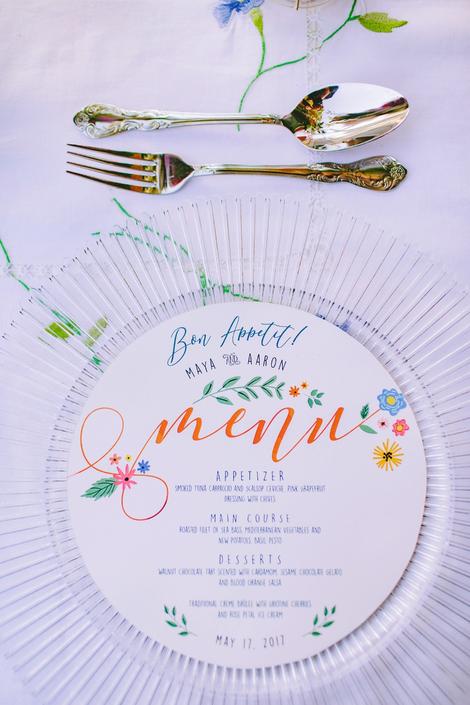 Whimsical garden menu