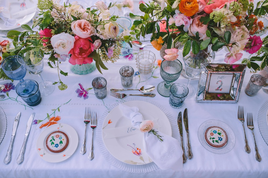 Whimsical garden tablescape