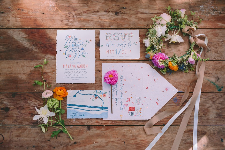 Whimsical garden wedding invites