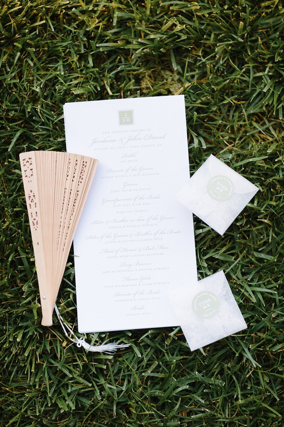 wedding program and wedding fan