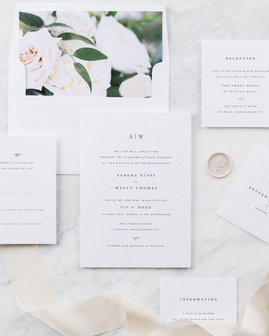 Sweet and sophisticated Aurora Floral invite from Shine Wedding