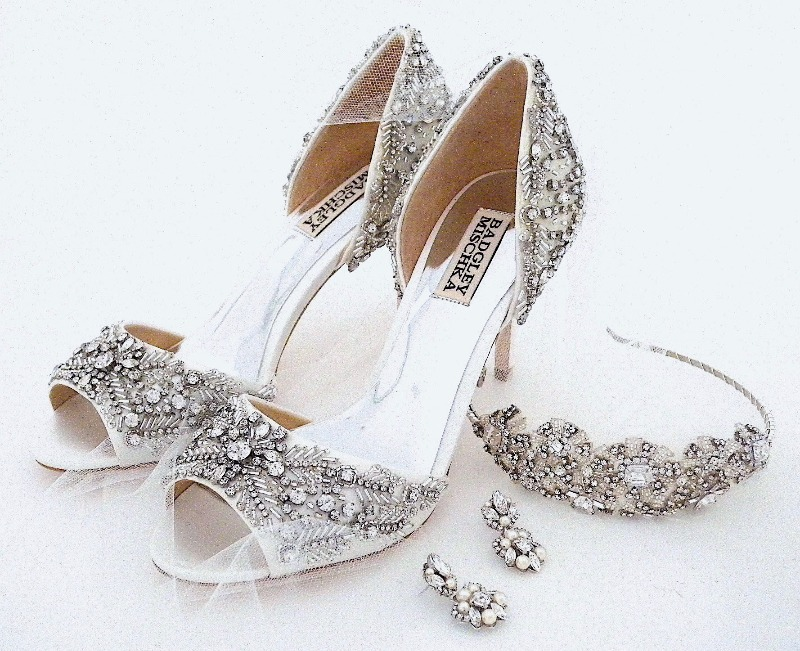 Just for sparkle girls. Meet Shaina, a new all over sparkle shoe from Badgley Mischka paired with a pair of our Sara Gabriel Earrings