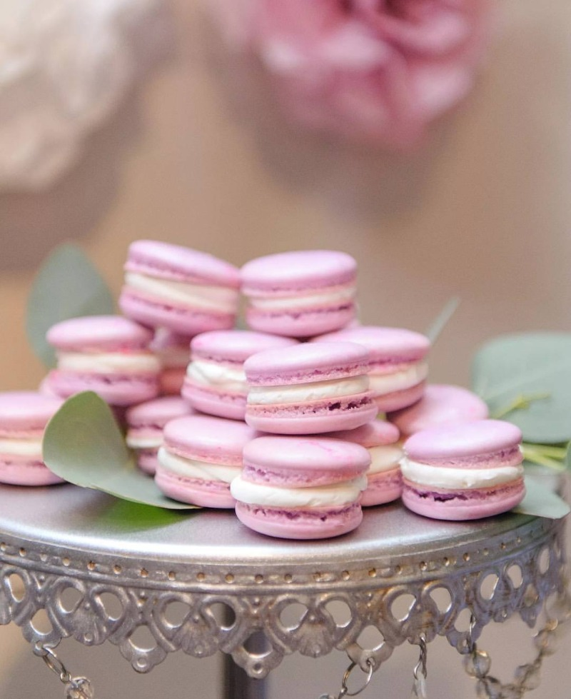 Bridal Shower & Wedding Desserts ...Pretty Pink Macarons! on Opulent Treasures Chandelier Cake Stand in Antique Silver