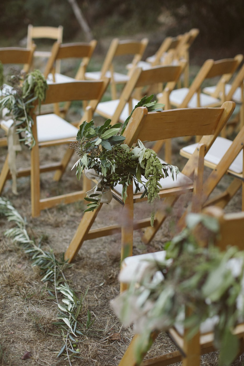 organic greenery wedding aisle decor
