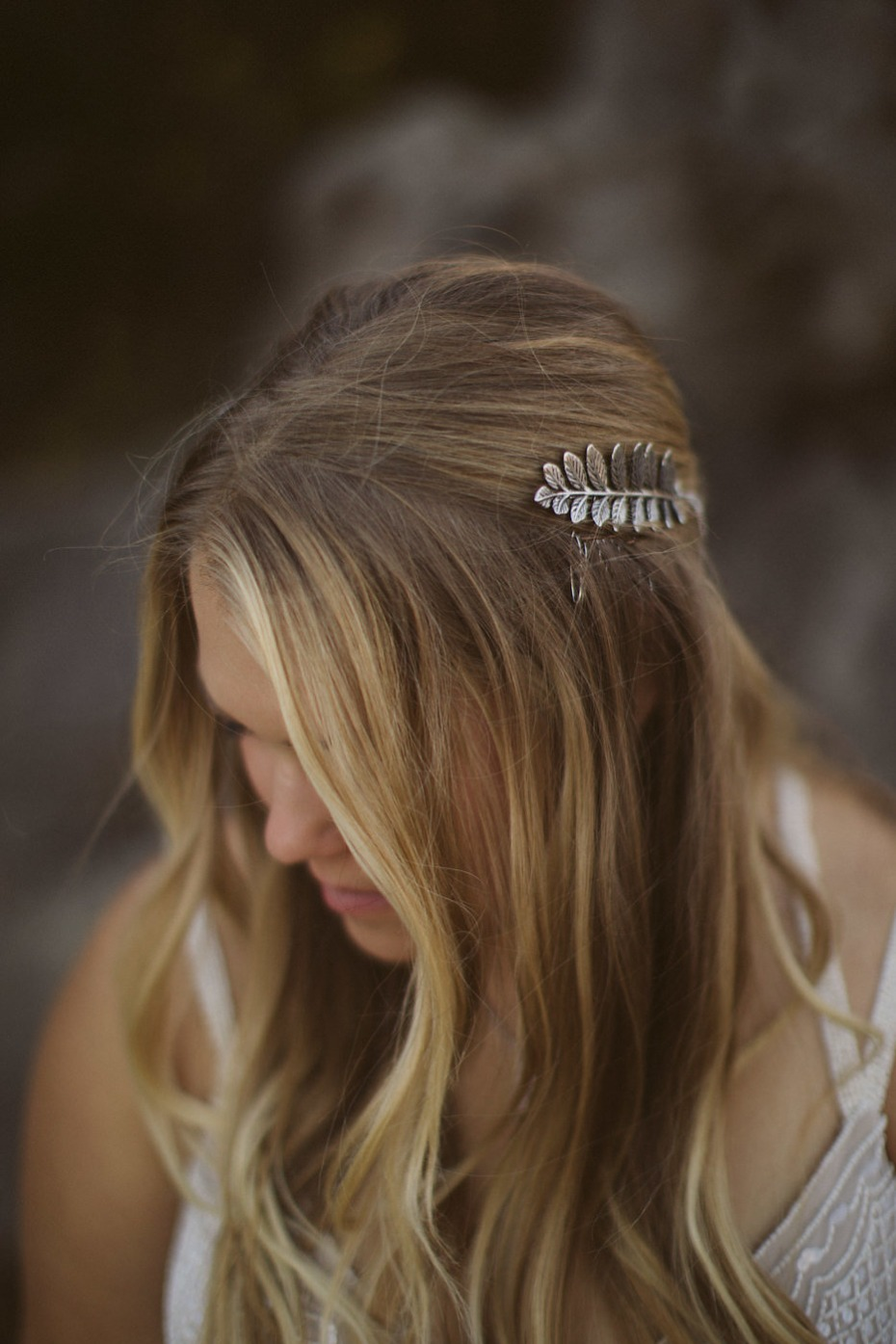 simple silver wedding hair accessory