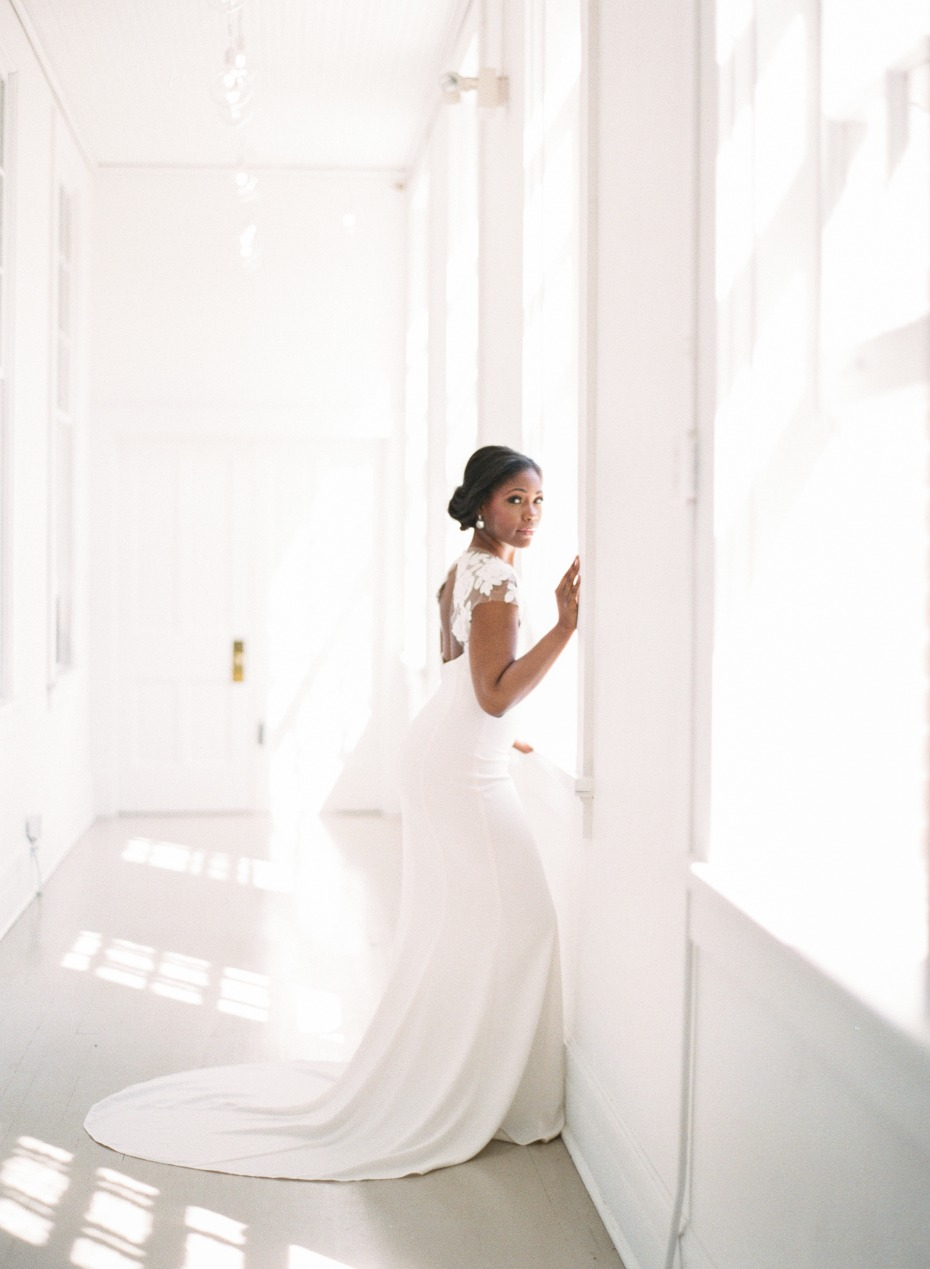 chic looking bride in Town and Country Bridal gown