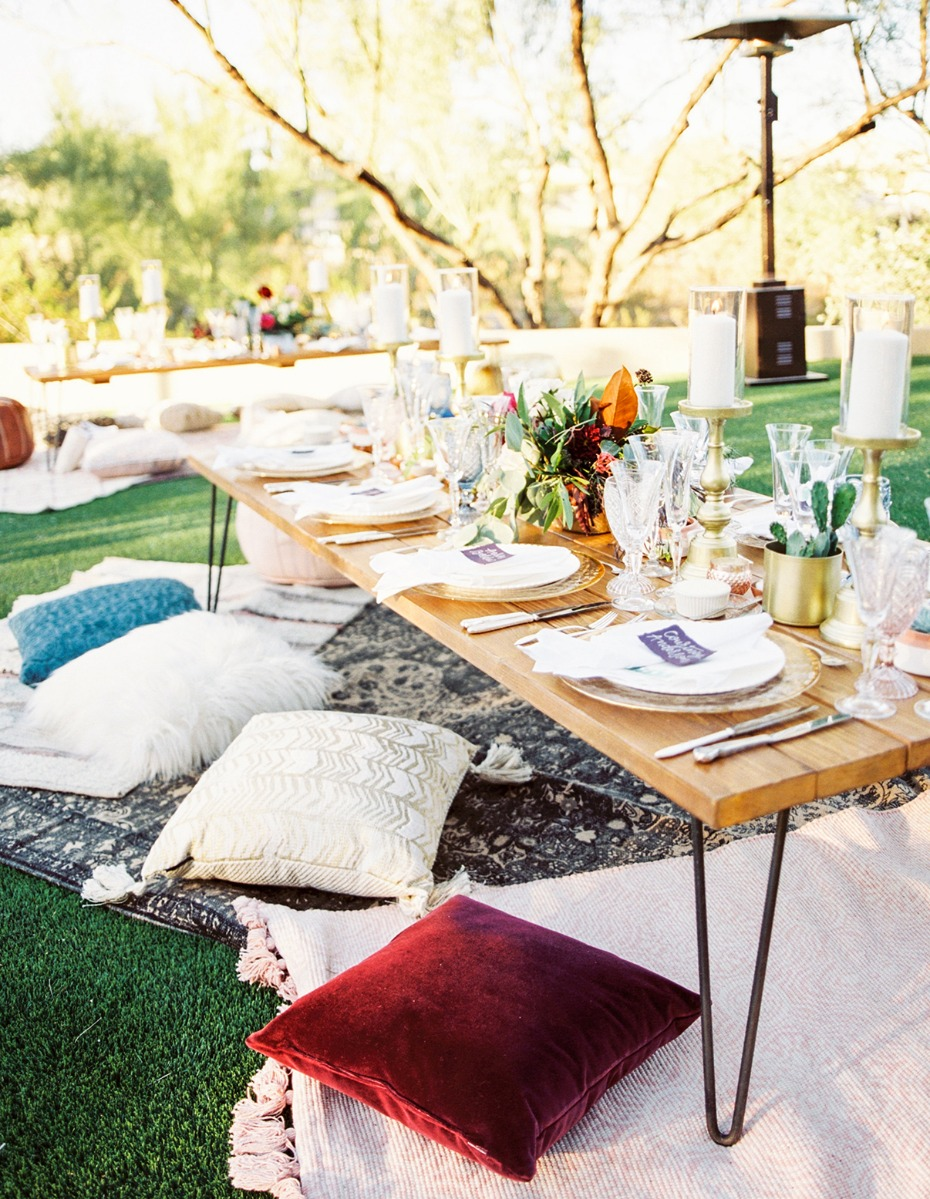 Modern boho reception table