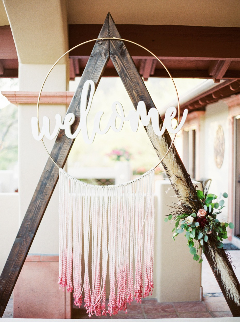 Beautiful bohemian welcome sign