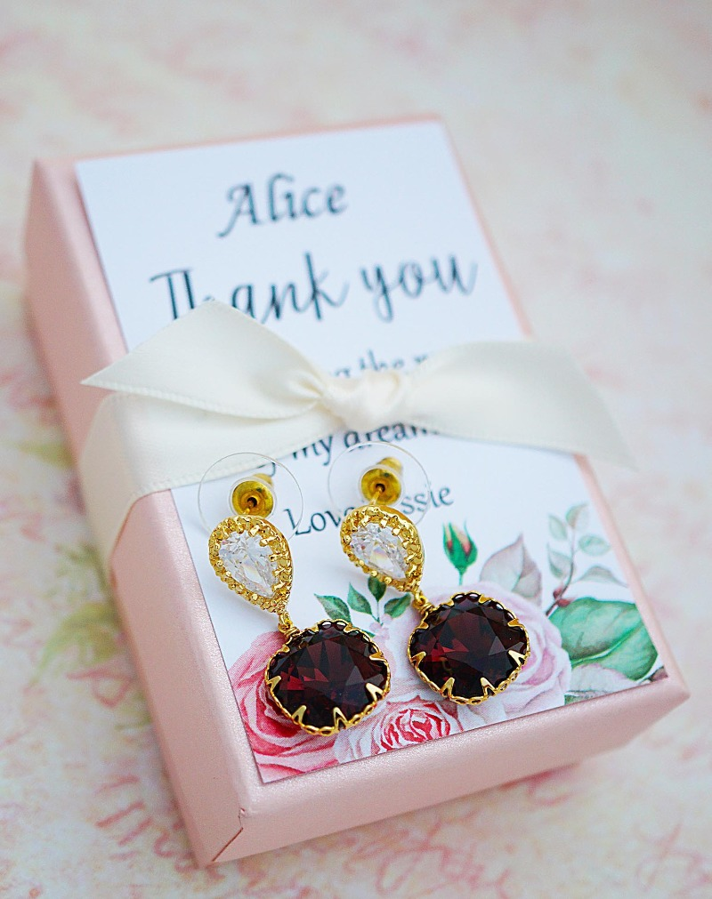 Burgundy Handmade Swarovski Crystal Earrings for mother of the groom with personalized card