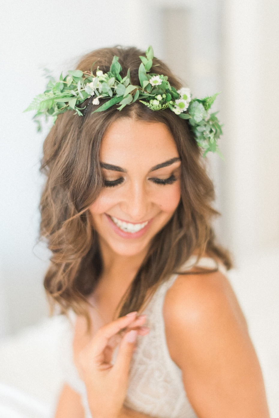 floral halo for the bride