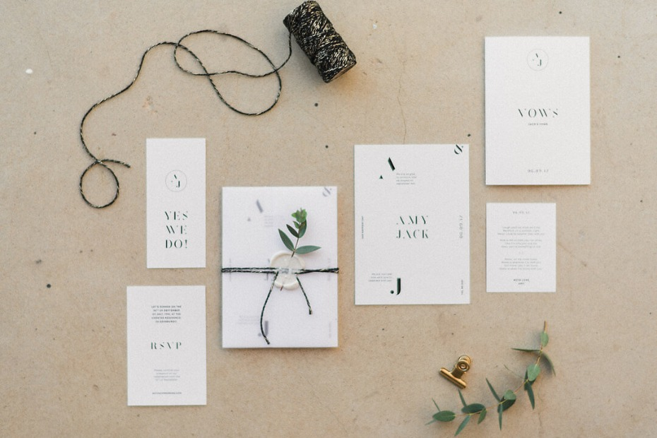 sweet and simple modern chic wedding stationery