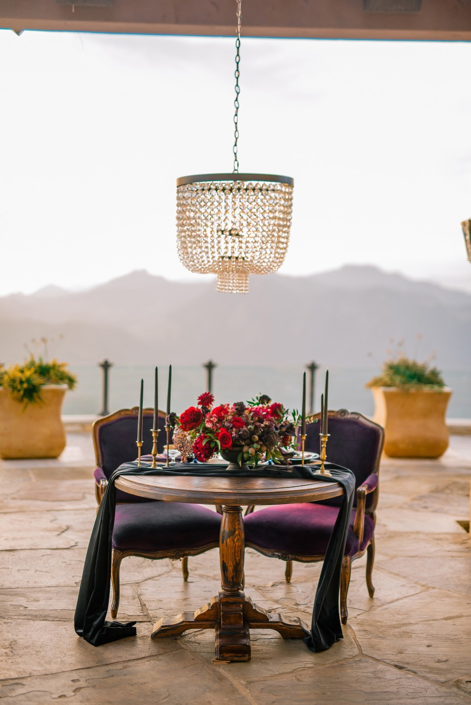 Jewel toned sweetheart table for two