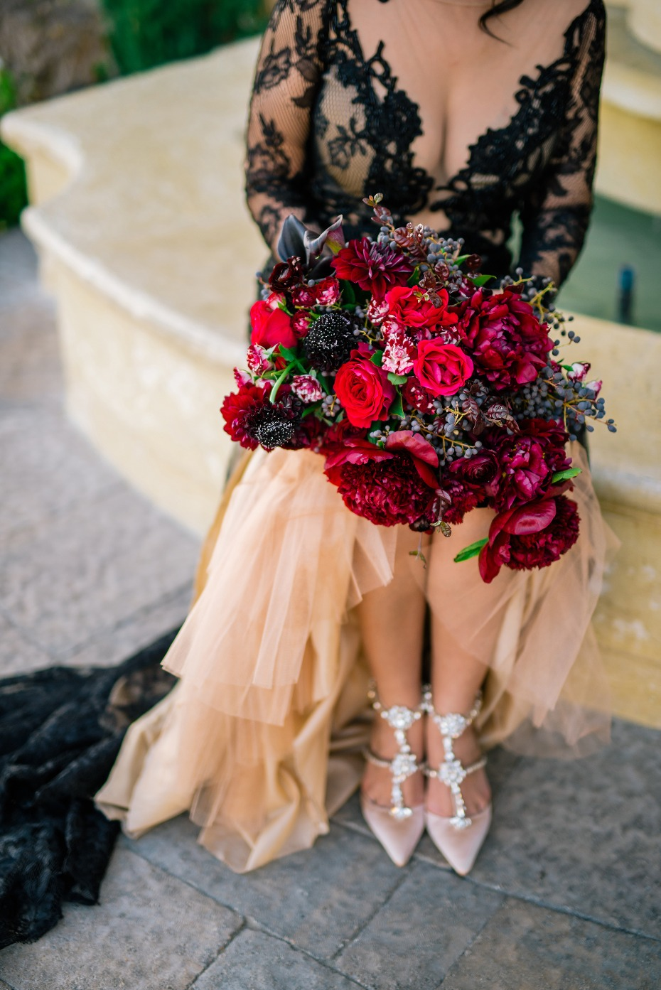 Gorgeous jewel toned bouquet and sparkly heels