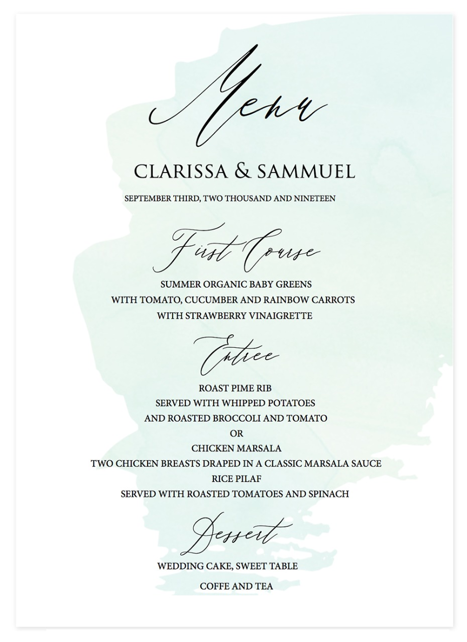 free wedding table menu
