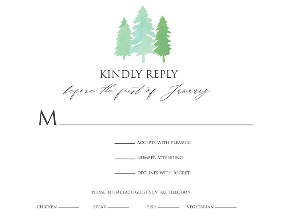 free printable tree RSVP card
