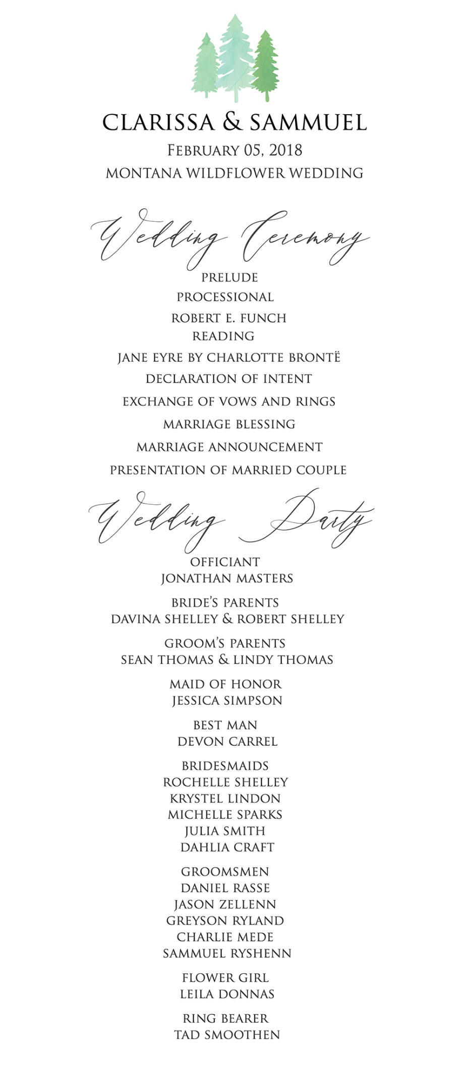 tree wedding program