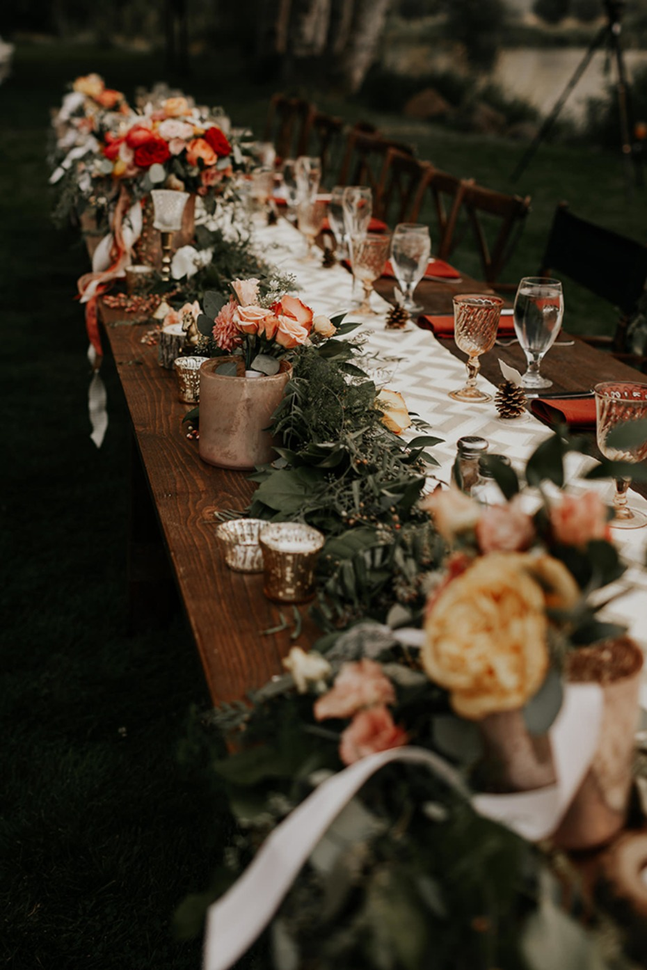 coral yellow and greenery rustic chic table decor