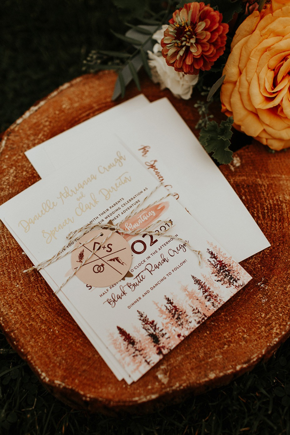 forest inspired wedding stationery