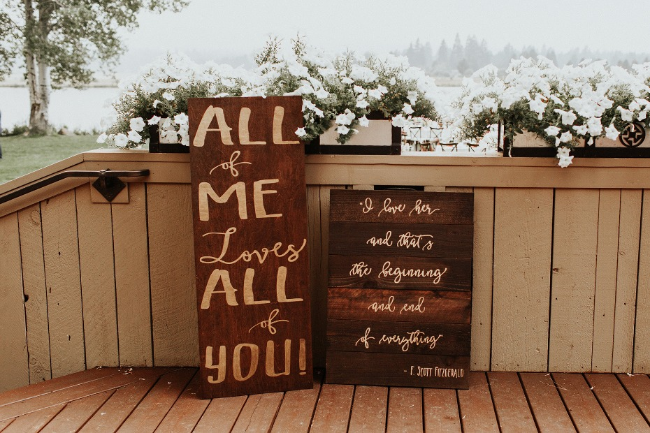 rustic hand painted wedding signs