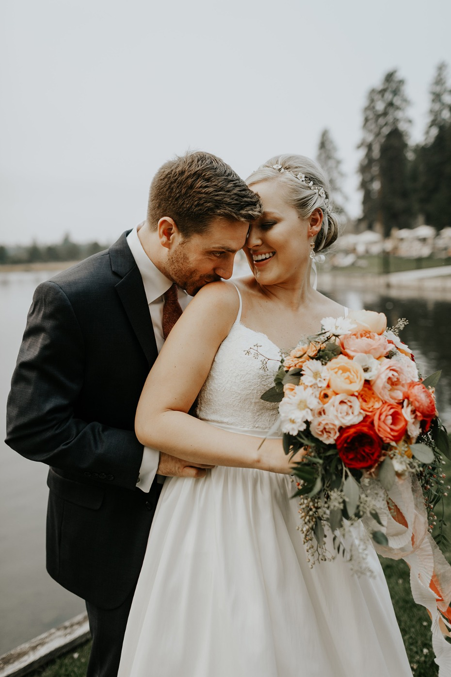 adorable bride and groom wedding portraits