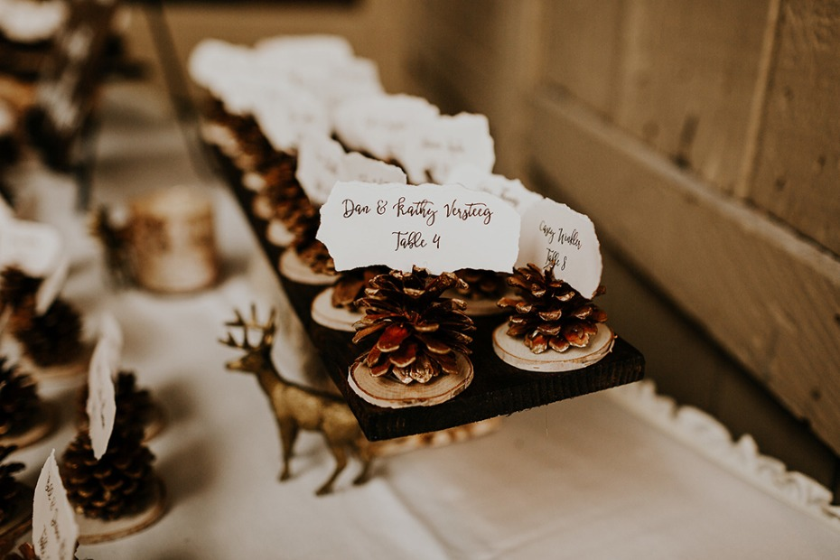 pinecone wedding place card holders