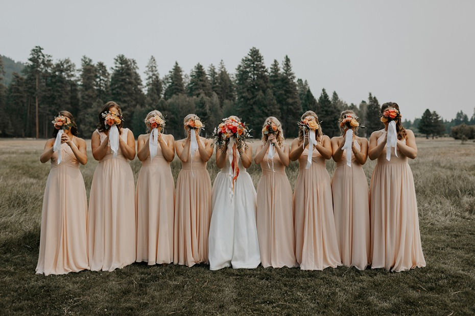 bridal party in soft peach