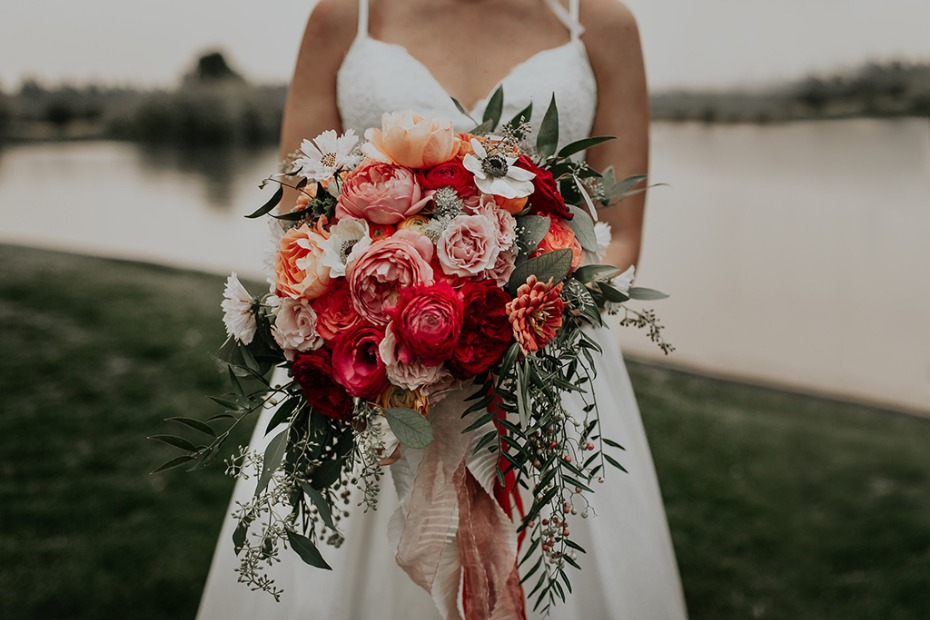 pink coral and white wedding bouquet