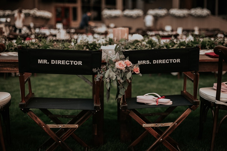 cute his and hers director chairs