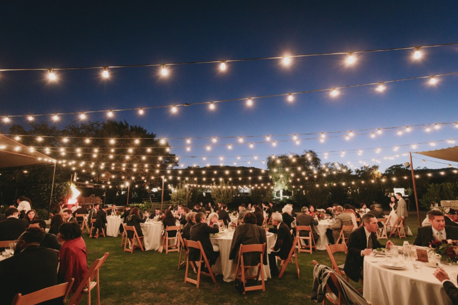 Twinkle lights reception at Farmstead at Long Meadow Ranch